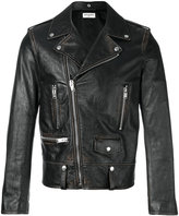 Saint Laurent distressed biker jacket - men - Cotton/Calf Leather/Polyester/Cupro - 48