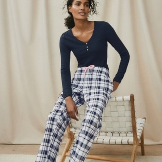 The White Company Brushed Cotton Check Pyjama Bottoms, Navy/White, Extra Small