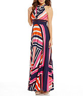 Eliza J Halter Printed Tiered Maxi Dress