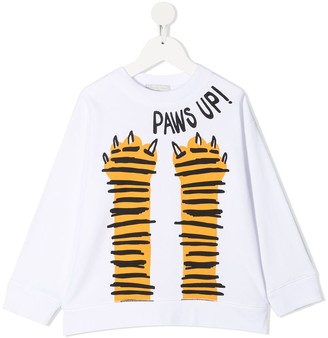 Stella McCartney Kids Paws Up oversized cotton sweatshirt
