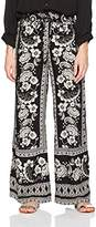 Angie Women's Black Printed Wide Leg Pant with Tassel