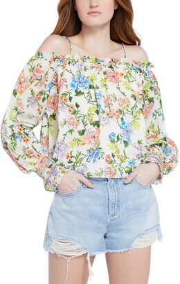 Alice + Olivia Tereza Floral Cold Shoulder Cotton Top