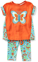 Rare Editions Baby Girls 3-24 Months Butterfly-Appliqued Top & Printed Leggings Set