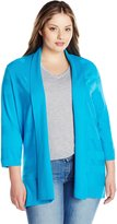 Leo & Nicole Women's Plus-Size 3/4 Sleeve Solid Cardigan with Texture