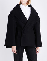 Jacquemus Ladies Black Asymmetric Button fastening Le Caban Oversized Wool Coat
