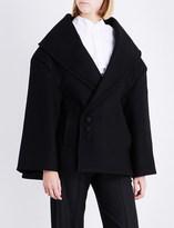 Jacquemus Ladies Black Asymmetric Button fastening Le Caban Oversized Wool Coat