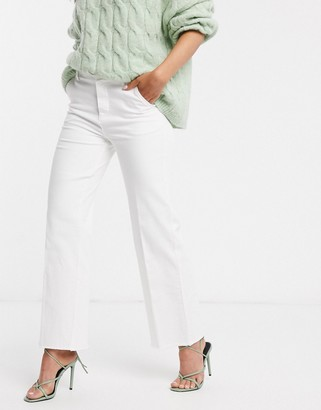 B.young Forever raw hem wide leg jeans