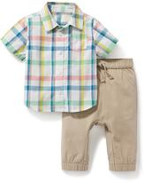 Old Navy Plaid Shirt & Canvas Jogger 2-Piece Set for Baby