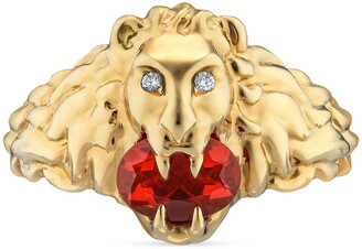 Gucci Lion head 18k ring with fire opal