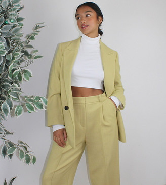 Topshop Petite tailored pants in lime