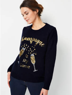 George Navy Sequinned Champagne Light Up Christmas Jumper