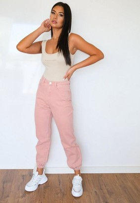 Missguided Pink Highwaisted Jogger Mom Jeans