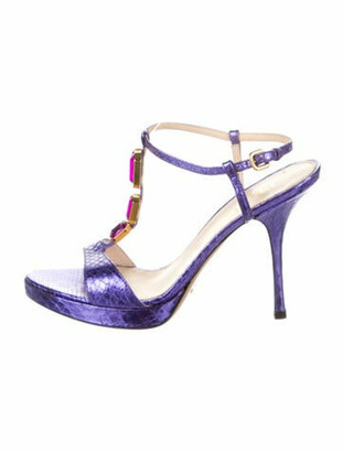 Prada Leather Animal Print T-Strap Sandals Purple