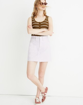 Madewell Rigid Denim A-Line Mini Skirt in Marble Lilac