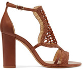 Alexandre Birman Marinah Woven Suede And Leather Sandals - Tan