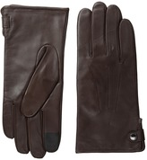Cole Haan Side Snap Leather Gloves with Center Points and Tech