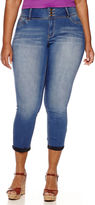 YMI Jeanswear 3-Button Wide Waistband Cropped Skinny Jeans - Juniors Plus