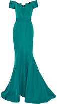J. Mendel Off-the-shoulder silk-faille gown
