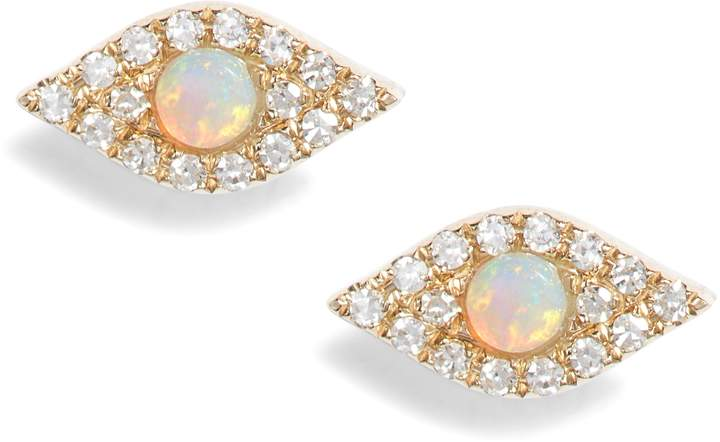 Ef Collection Evil Eye Diamond & Opal Stud Earrings