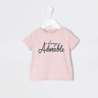River Island Mini girls pink 'Always adorable' T-shirt