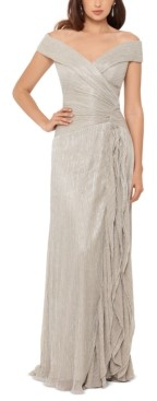 Xscape Evenings Off-The-Shoulder Metallic Pleated Gown