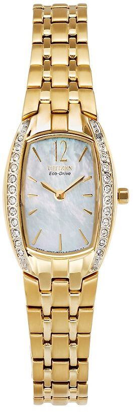 Mother of Pearl Citizen eco-drive silhouette gold tone stainless steel crystal & mother-of-pearl watch - made with swarovski elements - ew9962-50d - women