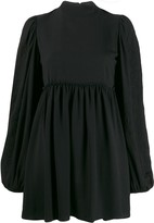 Wandering high neck flared mini dress