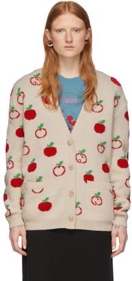 Gucci Off-White Jacquard GG Apple Cardigan
