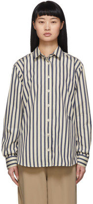 Totême Blue and Off-White Capri Shirt