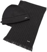 Hugo Boss Black Marros Black Beanie And Scarf Gift Set