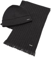 Hugo Boss Black Marros Charcoal Beanie And Scarf Gift Set