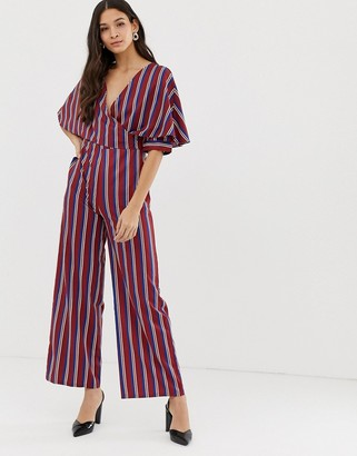 Liquorish wrap front jumpsuit with batwing sleeves in stripe-Multi