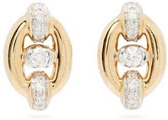 Nadine Aysoy - Catena Diamond & 18kt Gold Stud Earrings - Yellow Gold
