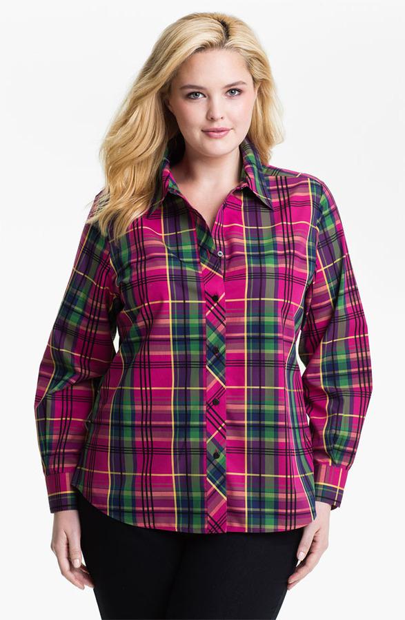 Foxcroft 'Holiday Tartan' Shaped Shirt (Plus)