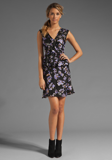 Tracy Reese Dreaming Charmeuse Printed Surplice Peplum Dress