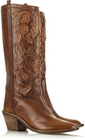 Roberto Cavalli Leather appliqué cowboy boots