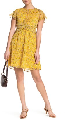 Sam Edelman Chiffon Patterned Drape Mini Dress