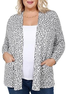 Belldini Plus Metallic Leopard Open-Front Cardigan
