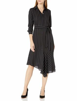 Nanette Nanette Lepore Women's Printed Long Sleeve Dress with Collar and Asymmetrical Hemline