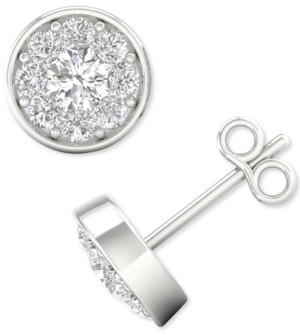 Forever Grown Diamonds Lab-Created Diamond Halo Stud Earrings (1/2 ct. t.w.) in Sterling Silver