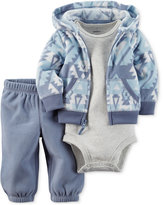 Carter's Baby Microfleece Boys' 3-Pc. Geo-Print Hoodie, Bodysuit & Pants Set