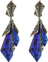 Alexis Bittar Two-Tone Crystal-Encrusted Layered Origami Clip Earrings, Blue