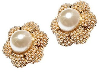 Lele Sadoughi Faux Pearl-Embellished Carnation Button Earrings
