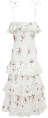 Zimmermann Tiered Floral-print Cotton-gauze Midi Dress