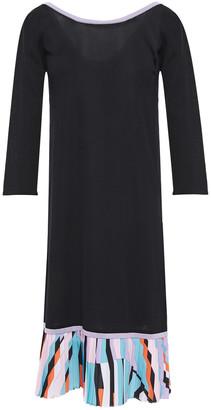 Emilio Pucci Printed Crepe De Chine-paneled Cotton-blend Dress
