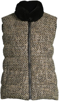 Pologeorgis Rex Rabbit Reversible Fur Tweed Vest