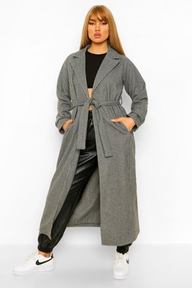 boohoo Dogtooth Longline Belted Wool Look Trench