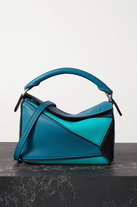 Loewe Puzzle Mini Color-block Textured-leather Shoulder Bag - Blue