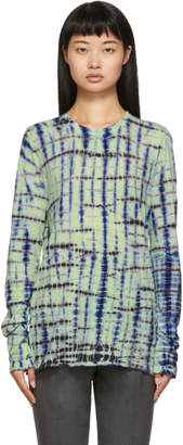 Proenza Schouler Green and Blue Tie-Dye Long Sleeve T-Shirt