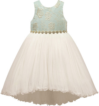 Princess Girls Couture Princess Girls' Special Occasion Dresses GREEN - Green Gold Jacquard Hi-Low Netting Top - Toddler & Girls